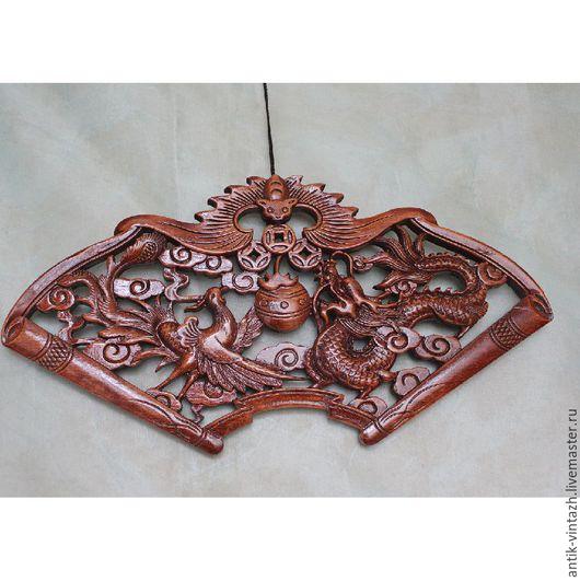 Винтажные предметы интерьера. Ярмарка Мастеров - ручная работа. Купить Прекрасное панно из камфарного дерева, Китай. Handmade. Резьба по дереву