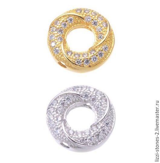 Бусина Баранка серебро и золото (Milano) Евгения (Lizzi-stones-2)