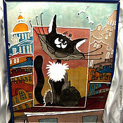 Для дома и интерьера handmade. Livemaster - original item stained glass cat on the roof. Handmade.
