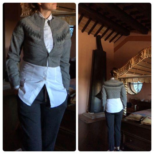 Одежда. Ярмарка Мастеров - ручная работа. Купить Кофточка от известной марки RIVAMONTI. Handmade. Серый, дубленка из овчины, теплая накидка
