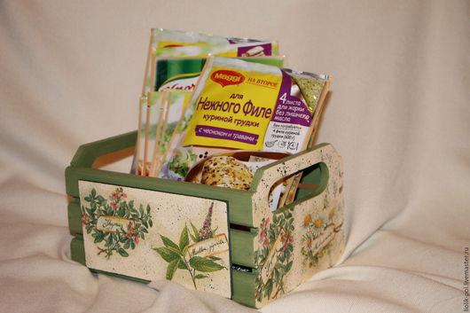 """Корзины, коробы ручной работы. Ярмарка Мастеров - ручная работа. Купить Короб-ящик  для специй, приправ """"Травы"""". Handmade. Зеленый"""