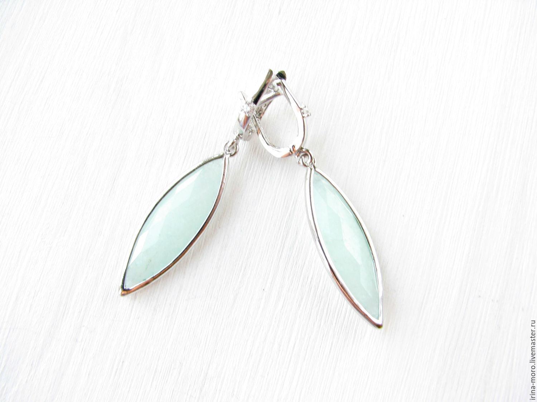 Irina Moro.   Irene Moreau. Earrings `Minty fresh` earrings with zircons and jade.