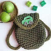 Работы для детей, ручной работы. Ярмарка Мастеров - ручная работа Вязаный рюкзачок из трикотажной пряжи для мальчика. Handmade.