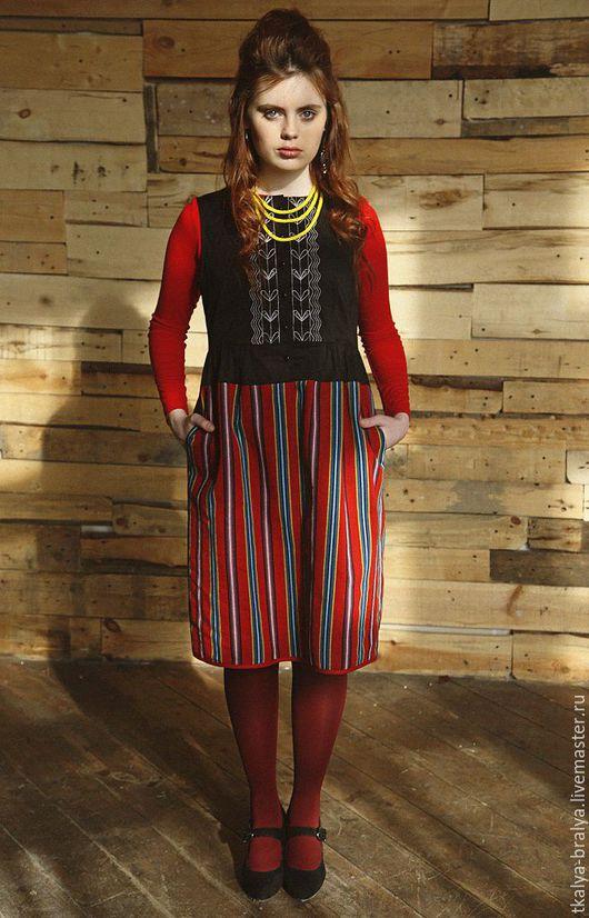 Платья ручной работы. Ярмарка Мастеров - ручная работа. Купить Платье с вышивкой - черно-фиолетовое. Handmade. В полоску, objet