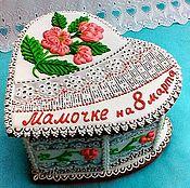 Сувениры и подарки handmade. Livemaster - original item Gingerbread Heart box white. Handmade.