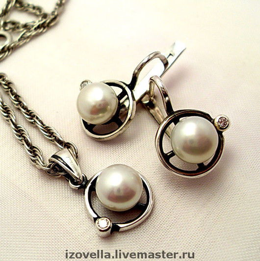Jewelry Sets handmade. Livemaster - handmade. Buy Kit - natural pearls, silver 925.925 sterling silver