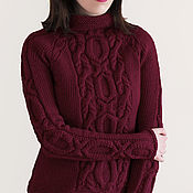 Одежда handmade. Livemaster - original item Burgundy women`s sweater knitted with a relief pattern. Handmade.
