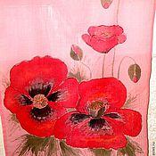 """Шарфы ручной работы. Ярмарка Мастеров - ручная работа Шарф """"Маки на розовом"""". Handmade."""