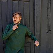 Рубашки ручной работы. Ярмарка Мастеров - ручная работа Мужская рубашка лён. Handmade.