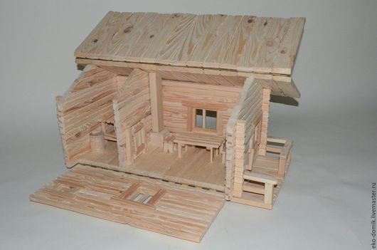 """Кукольный дом ручной работы. Ярмарка Мастеров - ручная работа. Купить Кукольный домик """"Банька"""". Handmade. Бежевый, под старину"""