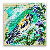 Картины и панно handmade. Livemaster - original item the picture on the tree, the Goldfinch, decorative panels. Handmade.