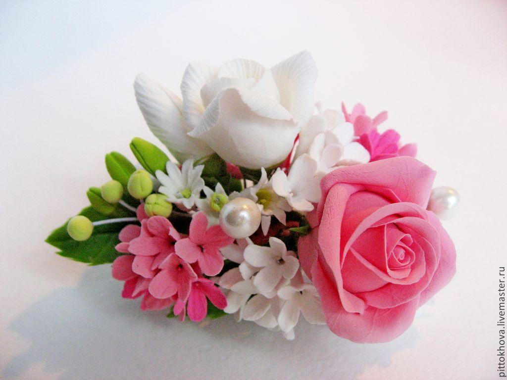Цветы в волосы из полимерной глины купить цветы и пирожное в коробке с доставкой