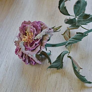 Цветы и флористика ручной работы. Ярмарка Мастеров - ручная работа Цветы из кожи и замши интерьерная роза Сиреневая дымка. Handmade.