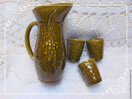 Винтажная посуда. Ярмарка Мастеров - ручная работа. Купить Винтажный керамический набор для вина На  троих,  Франция. Handmade. Оливковый