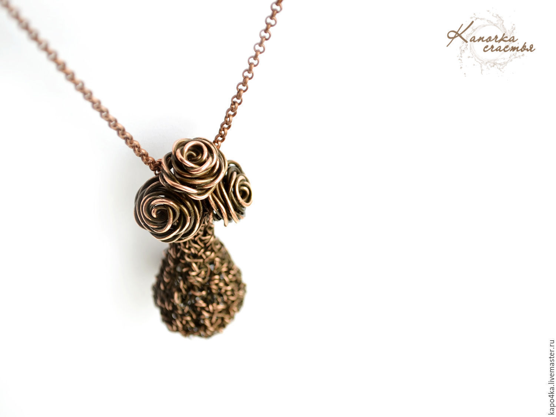 Copper pendant Roses in a vase wire wrap Pendant copper pendant ...