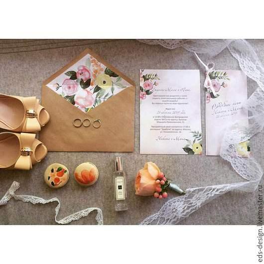 Свадебные аксессуары ручной работы. Ярмарка Мастеров - ручная работа. Купить Акварельное свадебное приглашение. Handmade. Бледно-розовый