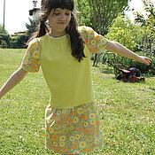 Работы для детей, handmade. Livemaster - original item Dress yellow Italian knit cotton. Handmade.