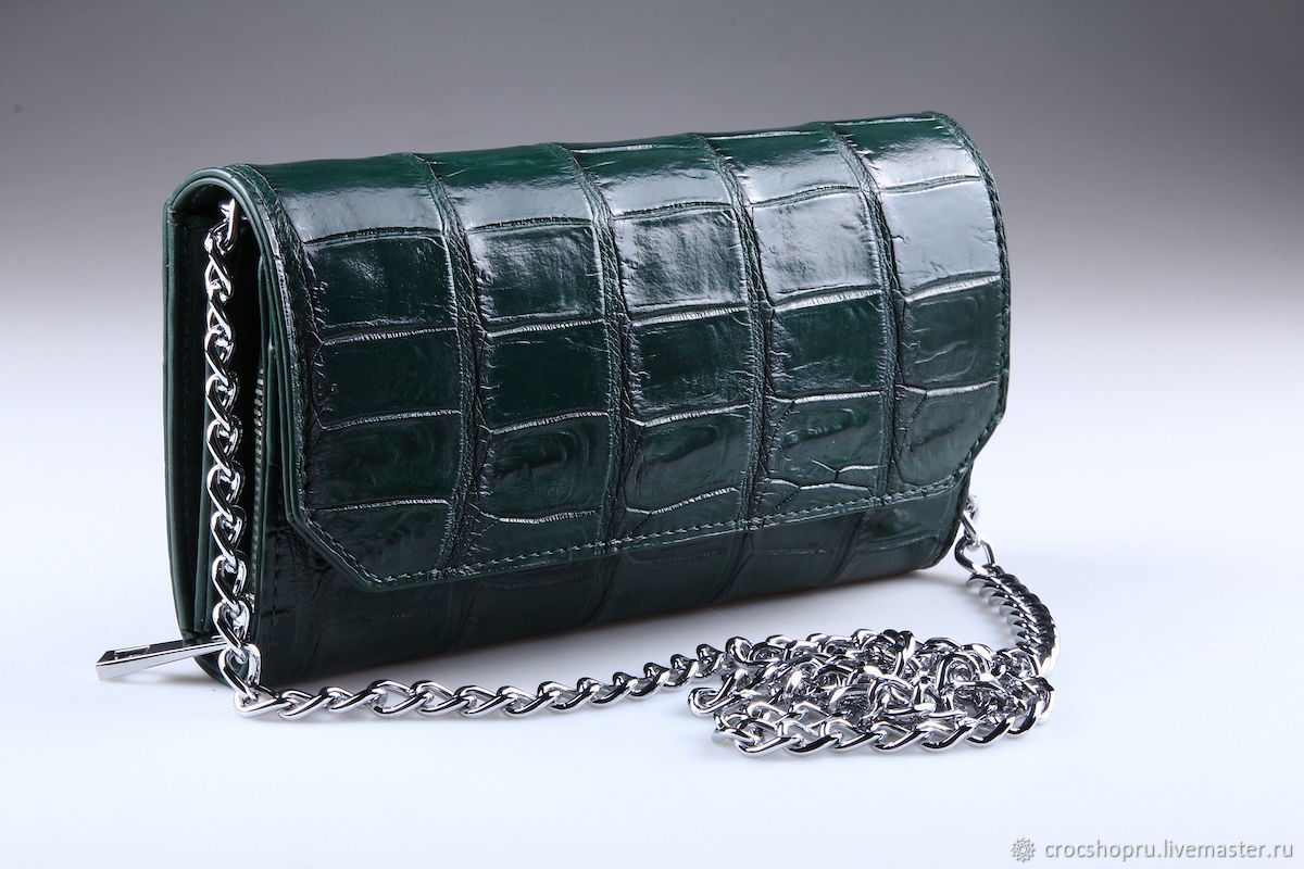 Women's crocodile leather clutch IMA0706VG4, Clutches, Moscow,  Фото №1