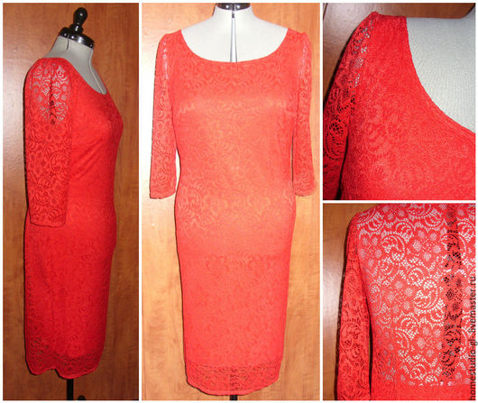 """Платья ручной работы. Ярмарка Мастеров - ручная работа. Купить Платье """"Lady in Red"""" из гипюра. Handmade. Ярко-красный"""