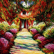 """Картины и панно ручной работы. Ярмарка Мастеров - ручная работа Картина """"Дорожка в саду Моне, Живерни"""" (холст, масло). Handmade."""