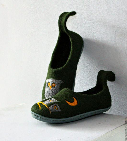 """Обувь ручной работы. Ярмарка Мастеров - ручная работа. Купить Тапочки """"Совы"""".. Handmade. Тёмно-зелёный, тапки, шерсть 100%"""