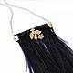 Кулоны, подвески ручной работы. Ярмарка Мастеров - ручная работа. Купить Черная подвеска с перьями страуса и цветком на цепочке. Handmade.