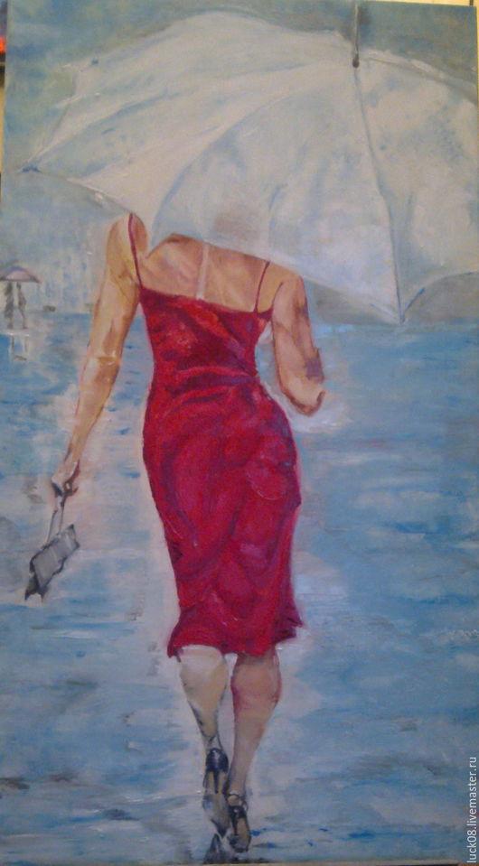 """Люди, ручной работы. Ярмарка Мастеров - ручная работа. Купить """"Дама в красном"""". Handmade. Ярко-красный, зонтик, дождь, чувство"""