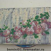 """Для дома и интерьера ручной работы. Ярмарка Мастеров - ручная работа Разделочная доска""""Розовая гирлянда"""". Handmade."""