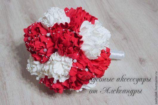 Свадебные цветы ручной работы. Ярмарка Мастеров - ручная работа. Купить Букет невесты, Пионы. Handmade. Розовый, розы, букет
