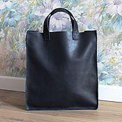 Кожаная женская сумка-шоппер ручная работа