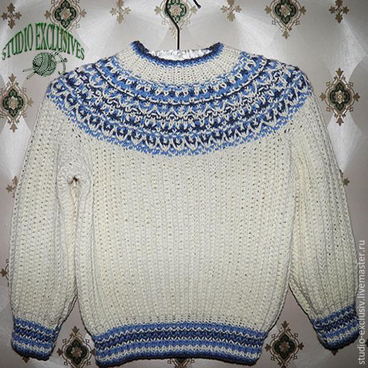 Блузки ручной работы. Ярмарка Мастеров - ручная работа. Купить Пуловер для мальчика. Handmade. Белый, пуловер, пуловер вязаный