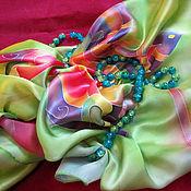 """Аксессуары ручной работы. Ярмарка Мастеров - ручная работа Палантин """"Зеленый с бабочками"""". Handmade."""