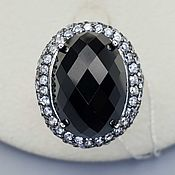 Украшения handmade. Livemaster - original item Silver ring with black onyx 18h13 mm and cubic zirconia. Handmade.