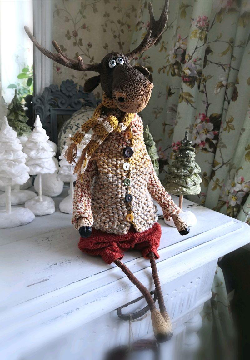 Лось.  Папье-маше, Интерьерная кукла, Кинешма,  Фото №1