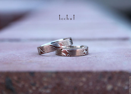 Кольца ручной работы. Ярмарка Мастеров - ручная работа. Купить Обручальные кольца в технике мокуме. Handmade. Серебряный