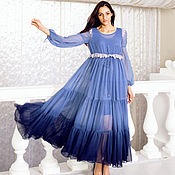 Одежда ручной работы. Ярмарка Мастеров - ручная работа Летящее платье Blue Morpho из воздушного шифона. Handmade.