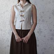 Одежда ручной работы. Ярмарка Мастеров - ручная работа Льняной жилет. Handmade.