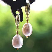 Украшения handmade. Livemaster - original item Classic earrings with large genuine pink pearls. Handmade.