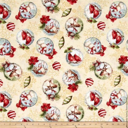 """Шитье ручной работы. Ярмарка Мастеров - ручная работа. Купить Новогодняя ткань """"Шарики бежевый"""" для тильды, пэчворка. Handmade."""