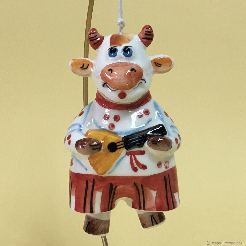 Колокольчик фарфоровый Бык Сёма с ножками, Колокольчики, Москва,  Фото №1