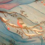 """Аксессуары ручной работы. Ярмарка Мастеров - ручная работа Шарф шелковый """"Снегири на ветках"""". Handmade."""