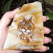 Сувениры и подарки handmade. Livemaster - original item Magnet stone painted Lynx Magnet custom. Handmade.