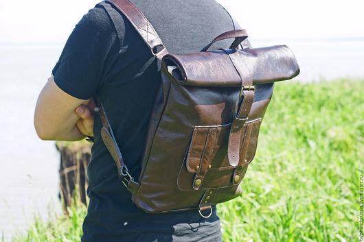 Рюкзаки ручной работы. Ярмарка Мастеров - ручная работа. Купить Мужской кожаный рюкзак в стиле rolltop  - 2. Handmade. Коричневый
