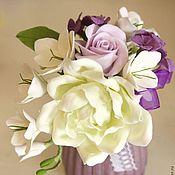 Цветы и флористика ручной работы. Ярмарка Мастеров - ручная работа Цветочная композиция с гортензией, розами из полимерной глины. Handmade.