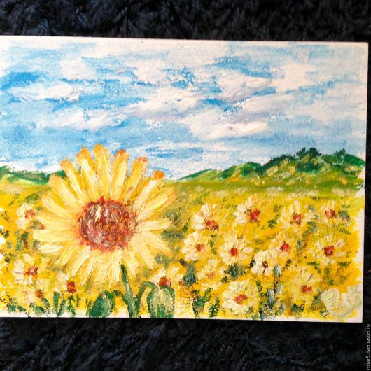 Пейзаж ручной работы. Ярмарка Мастеров - ручная работа. Купить Солнечная.. Handmade. Желтый, подарок на любой случай