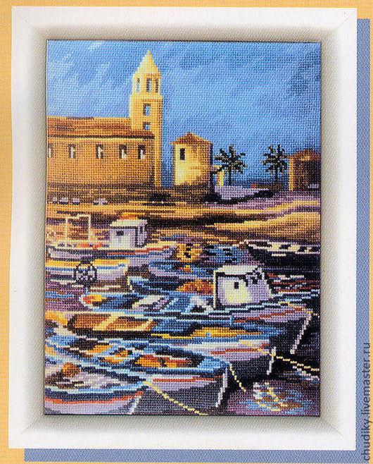Город ручной работы. Ярмарка Мастеров - ручная работа. Купить Греция. Handmade. Вышитая картина, городской пейзаж, город, греция
