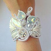 Украшения handmade. Livemaster - original item Bracelet embroidered white Shibori silk,pearls,soutache. Handmade.
