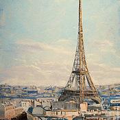 Картина маслом  Восход в Париже... Авторская живопись маслом