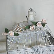 handmade. Livemaster - original item A wreath for the bride, hair c peach roses from polymer. Handmade.