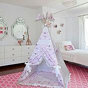 Детский вигвам с матрасом  Розовые кружевные ОБЛАКА. Палатка. Шалаш.